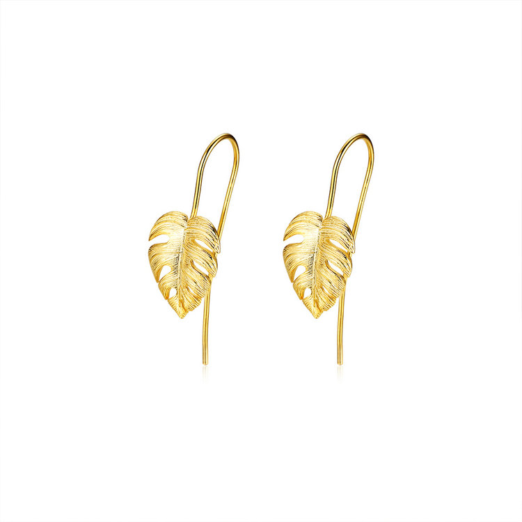 bohemian gold plated tropical palm leaf monstera 925 <strong>sterling</strong> <strong>silver</strong> <strong>drop</strong> <strong>earrings</strong>