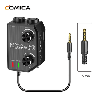 Comica AD3 two-Channels XLR / 3.5mm / 6.35mm  Microphone Audio Preamp Mixer / Adapter/ Guitar Interface for DSLR, Camera,  phone