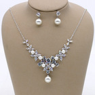 New Party Prom Jewelry Crystal Rhinestone Necklace Earring Set Wedding Bridal Jewelry Set