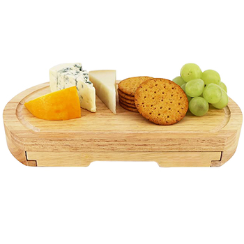 Bamboo Oval Shaped Cheese Board and 4 Piece Knife Set