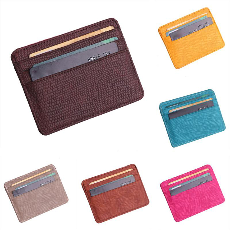 Fashion Leather Pouch Coin Case Mini Bankkaart Unisex Vrouwen Credit Kaarthouder