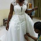 Vestidos De Novia African Handwork Sheer Neck Plus Size Bridal Lace Wedding Dresses With Detachable Train MWA521