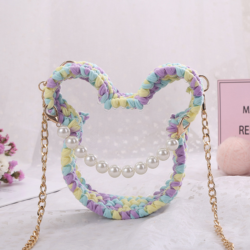 Cross border special for hyuna hand woven acrylic transparent bag cloth crochet  bag for women