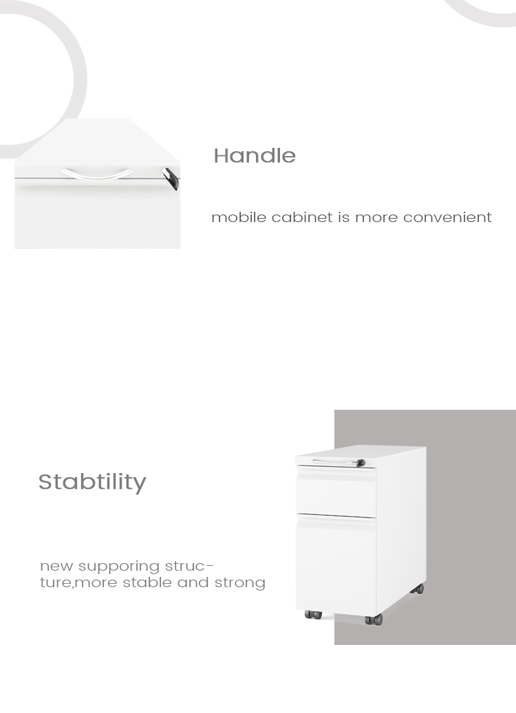 Durable Pedestal Desk 2 Drawer Fireproof Waterproof Mobile  File Cabinet With Removable Key and Master Key