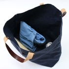 Custom Best Vintage Oversized heavy waxed canvas tote bag leather handle strap