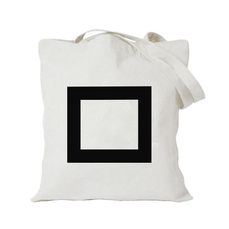 Bolsa de lona ecológica reutilizável, sacola de algodão orgânico estampada