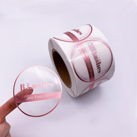 Custom Circle Round Logo Sticker Printing Label Paper Label For Packing Clear Rose Gold Foil Stickers