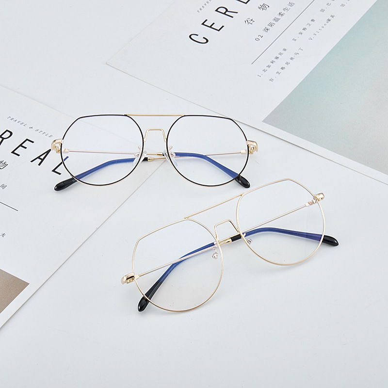 Vintage Personalized Korean Three Quarter Metal Round Glasses Frame Blue Blocking Glasses