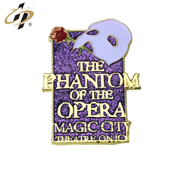 Promotional metal custom the phantom of the opera soft enamel glitter lapel pin