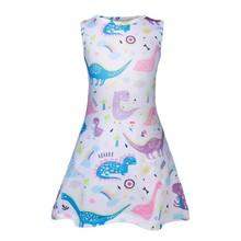 Детское платье с рисунком единорога для девочек, детские летние платья с бабочками для дня рождения, летние мягкие детские платья для девоч...(Китай)