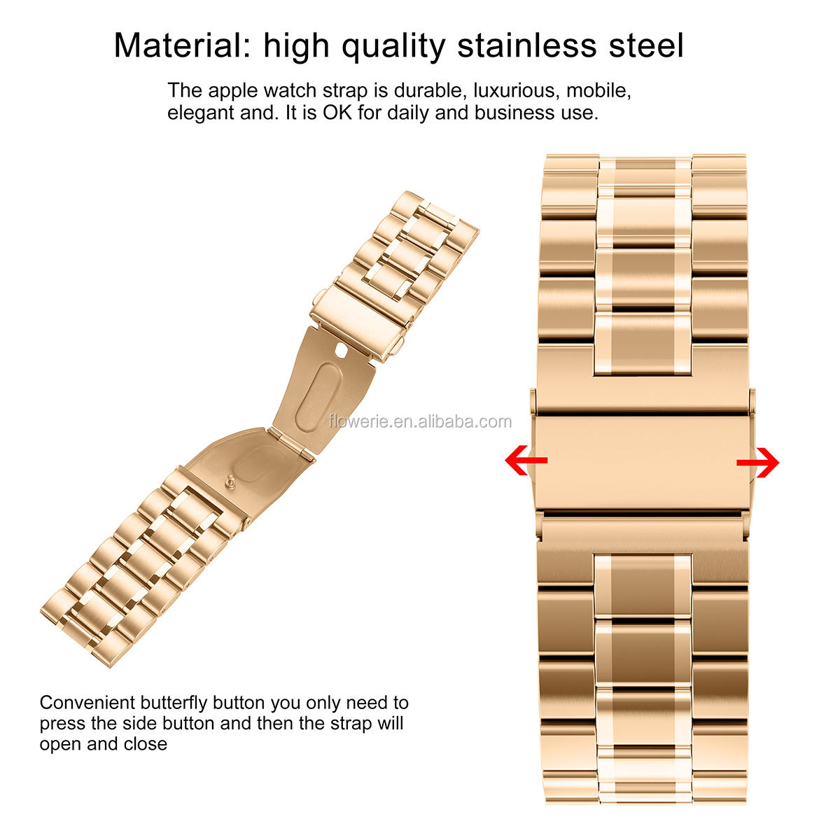 METAL581036 Economical custom design stainless steel strap for apple watch