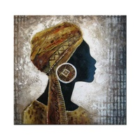 Handpainted Classic African Theme Lady Portrait Folk Wall Art Pictures Oil Painting