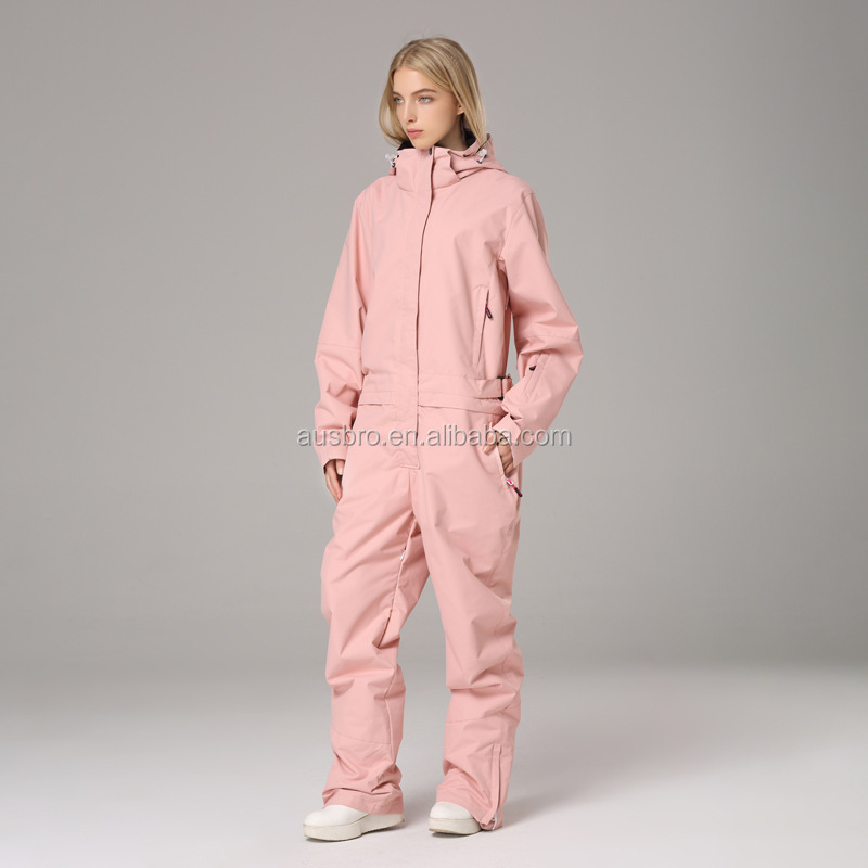 Soild Waterproof One Pieces Snowboard Suits Snowsuits Overall Jumpsuits Ski Wear Suits for Downhill Skiing Pink