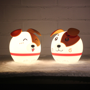 China manufacturer LED silicone night light Children cute dog shape lamp with usb for kids bedroom decoration