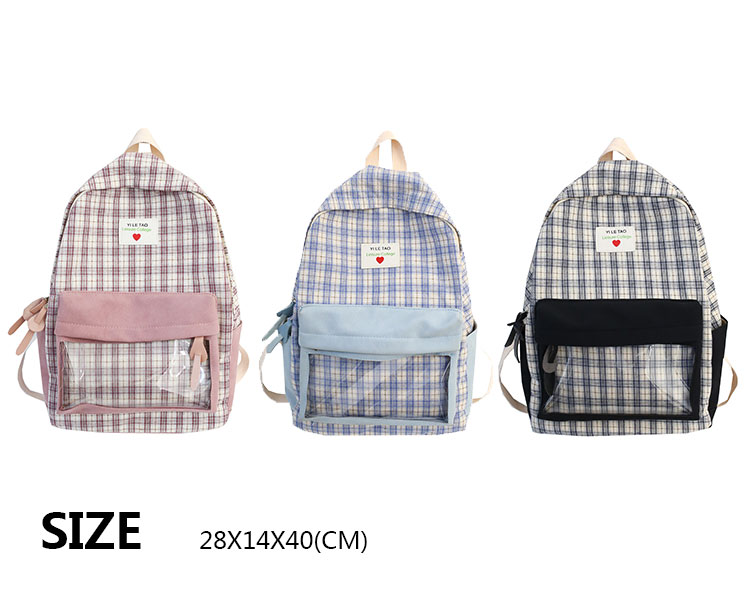 Light student bag fashion school plaid backpack purse
