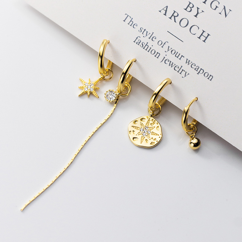 2020 NEW INS 925 <strong>Sterling</strong> <strong>Silver</strong> Asymmetry Baroque star ball long <strong>earrings</strong> dangle <strong>drop</strong> hoop <strong>earrings</strong>