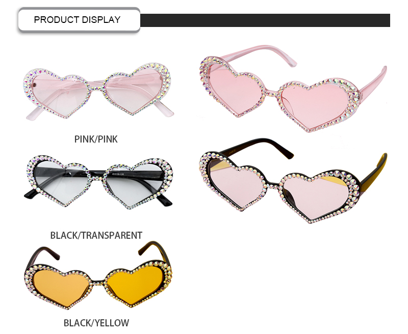 China Wholesale Luxury Irregular Heart Diamond Plastic Women Bling Sunglasses