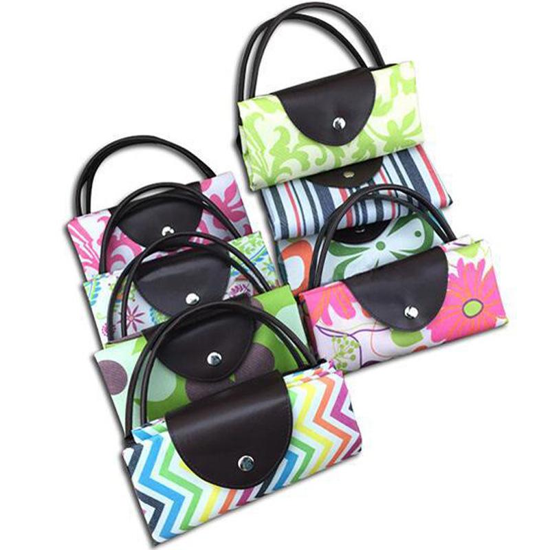 แฟชั่นออกแบบกระเป๋าพับได้กระเป๋าถือ CUSTOM พิมพ์ Canvas Shopping BAG
