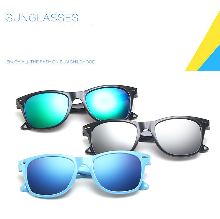 Wholesale 2021 Hot Sale Fashion Custom Logo Eyewear Candy Color Kids Sunglasses UV400 Children Square Sunglasses