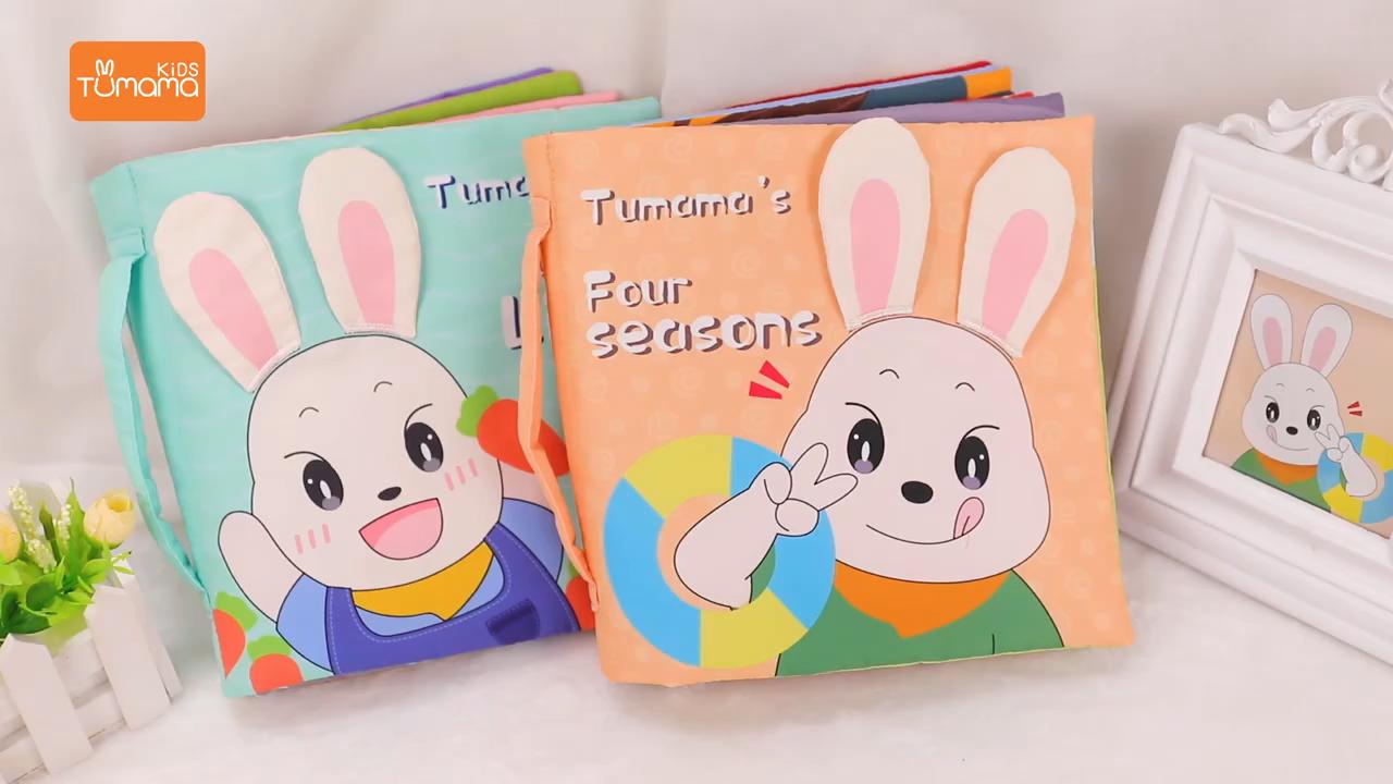 3D Pendidikan Kain Bayi Pesan Kustom OEM Waktu Seni Warna Permukaan Menerima Katun Lembut Kain Buku Bayi