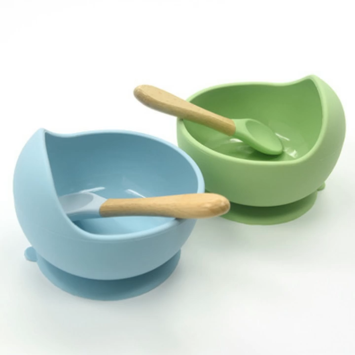 Eco-friendly free BPA no slip food grade silicone feeding silicon kids Baby bowl with Spoon
