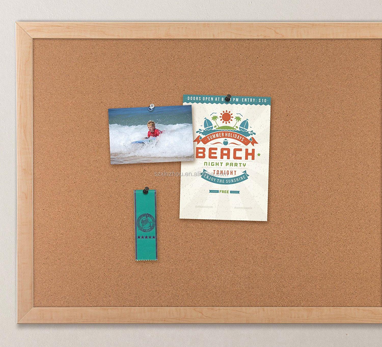 Small Wood Framed Cork Bulletin Board, Wall Mountable Push Pin Notice Board