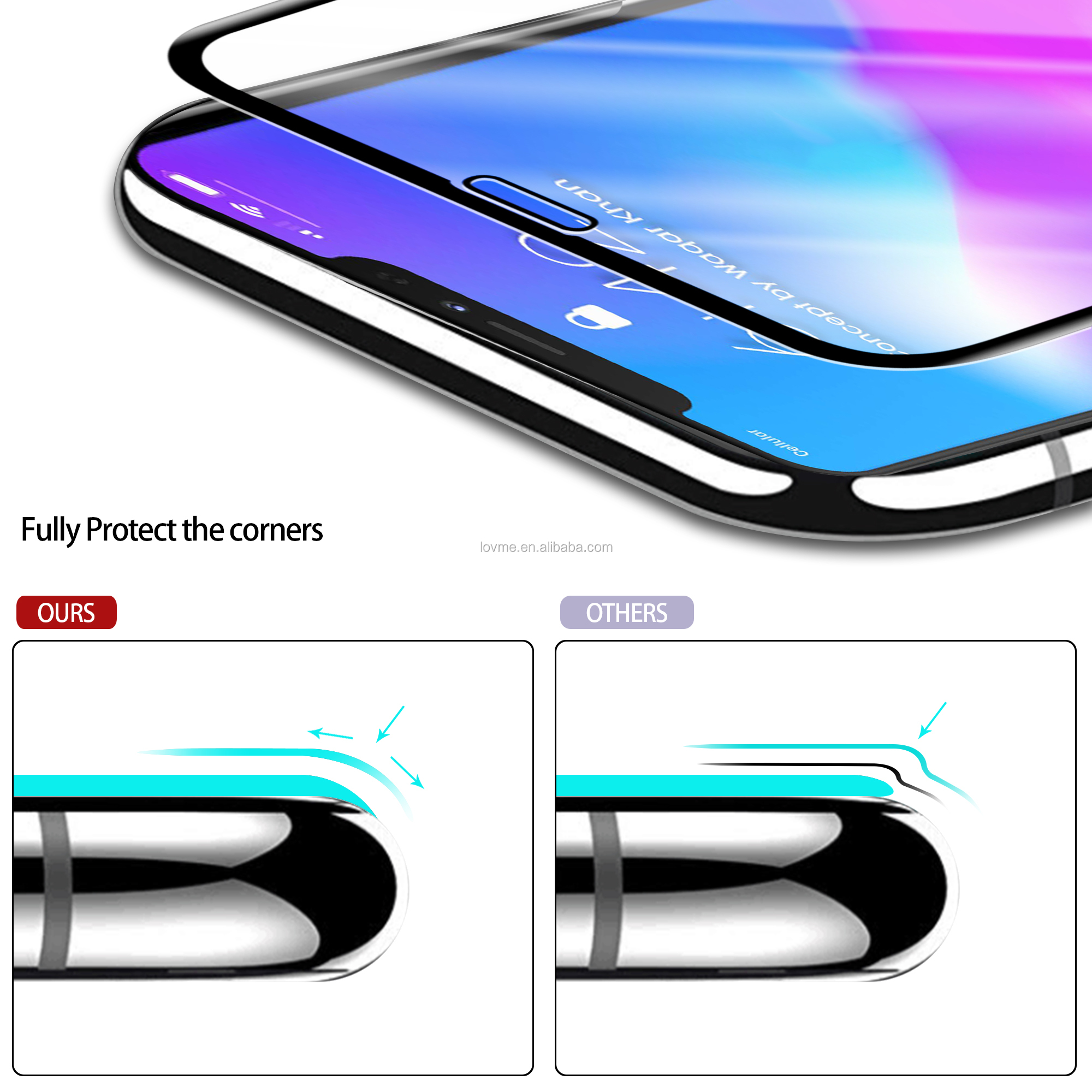 Mobile Phone 5D Full Coverage Protective Tempered Glass Screen Protector For iPhone 11 Pro 2019