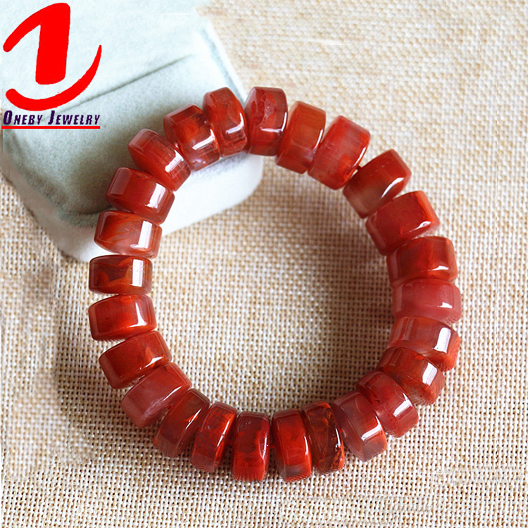 Perle plate Christian Charme Traditionnel Chinois Chine Bracelet en Agate Rouge
