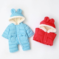 lovely winter fashion warm toddler hooded snowsuit zip up baby down rompers