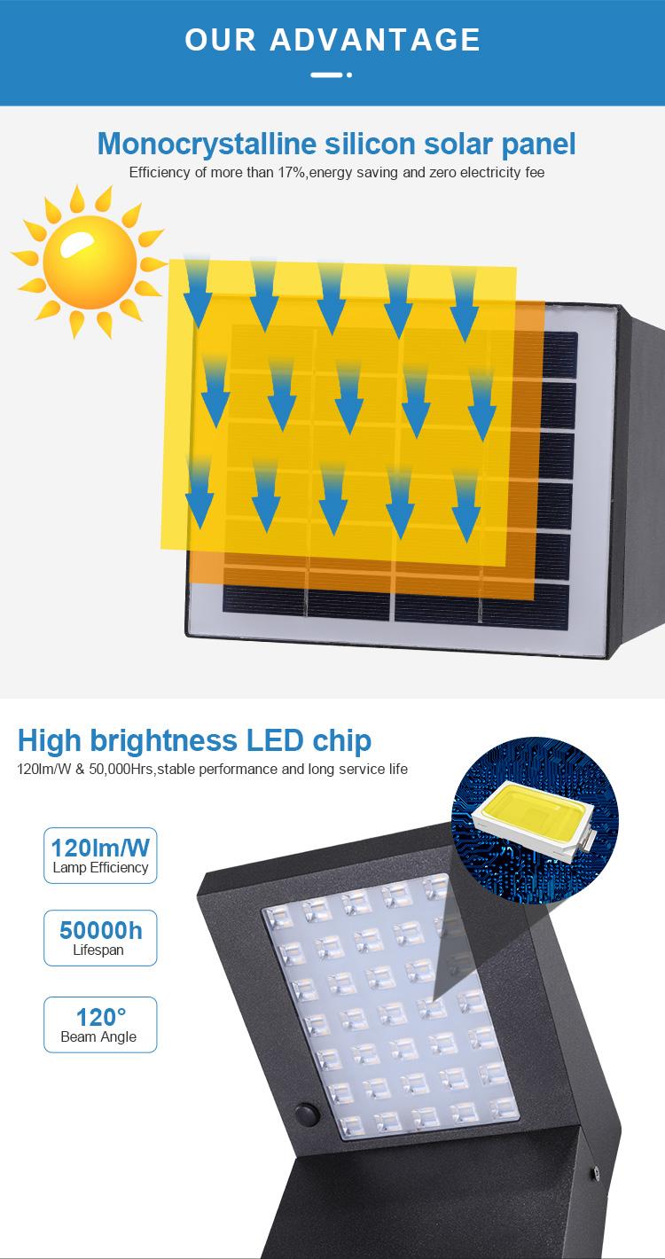 Novel Design Monocrystalline Silicon Solar Panel 3W Aluminum Bollard Lawn Pathway Line Garden Outdoor Solar Light