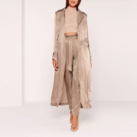 Chinese Clothing Factory Fashion Buckle Duster Coat Brown Coats And Jackets Woman