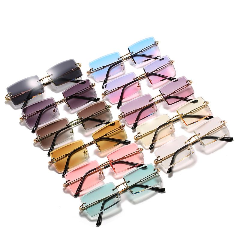 2021 Fashion lentes de sol Trendy Custom Fashion Ladies Rimless Small Rectangle Metal Sun Glasses Women Shades Sunglasses, Colorful or customizable