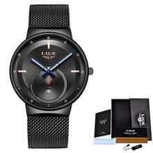 Reloj Mujer LIGE, женские часы, Лидирующий бренд, роскошные женские ультратонкие часы с сетчатым ремешком, водонепроницаемые часы из нержавеющей с...(China)