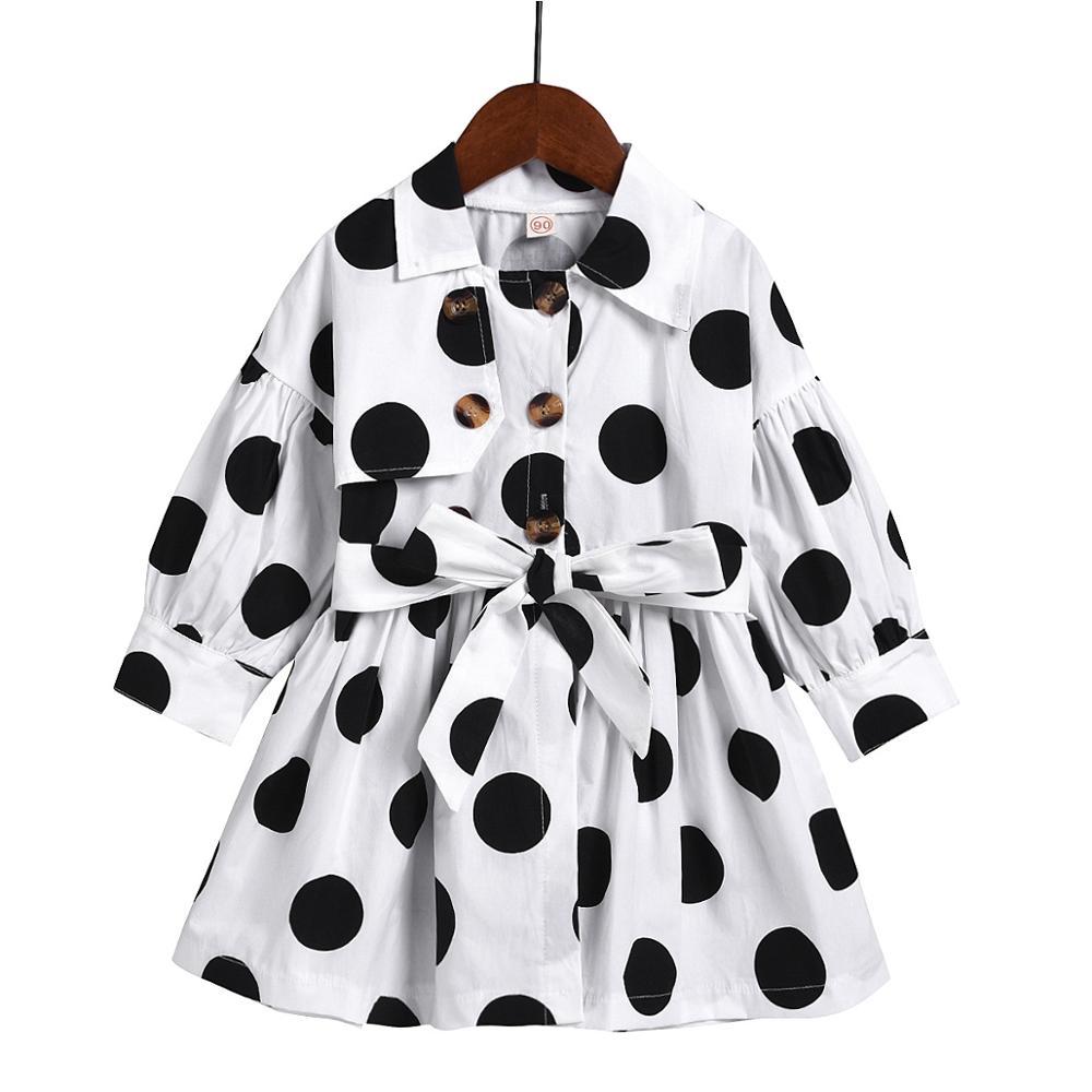 Robe d'automne pour petite fille, vêtements de princesse, Version coréenne, à manches longues, à pois, mignon, pour enfants en bas âge