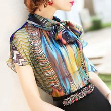 2020 летние женские футболки Блузы-топы с коротким рукавом подходящие по цвету шифоновые рубашки женские темпераментные женские двухслойные...(China)