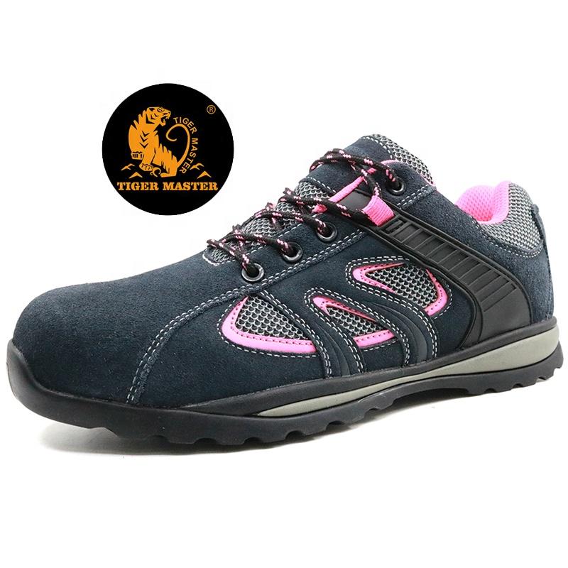 Slip resistant suede leather composite cap fashionable ladies safety shoes