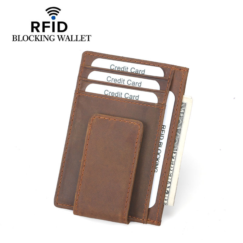 Matte Genuine Leather Mens Thin Slim Magnet Money Clip Minimalist Wallet Rfid Card Holder