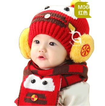 New winter robot style hat cute toddler kid beanie hat warm baby knitted scarf set earmuff hat