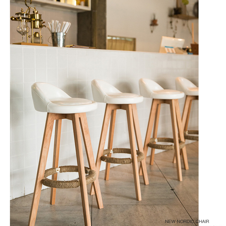 Bar Stool Nordic Rustic Classic High Kitchen Counter Chair Modern Leather PU Fabric Wooden Swivel Bar Stool With Back