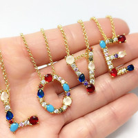 2019 Europe new fashion color zircon necklace diamond English initial jewelry A-Z letter necklace