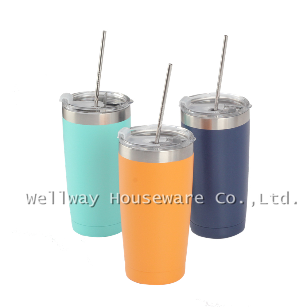 Colorful Coffee Mug Set With Straw and Brush  of 4PCS for Travel Enjoying  Espresso Coffee