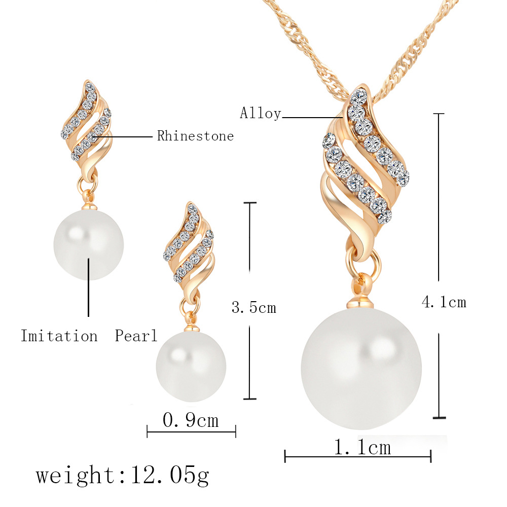 MS42H3 Factory price pearl earrings necklace set spiral simple style jewelry set wholesale