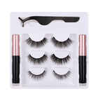 2020 Hot Sale Custom Your Brand Magnetic Eyelashes Cosmetic Handmade False 3D Fiber Eyelashes