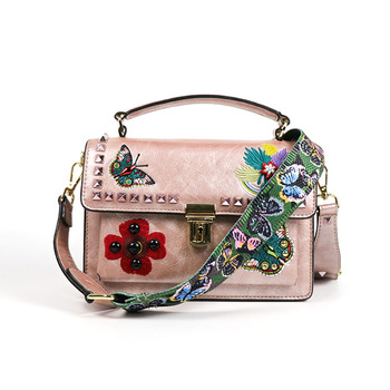 2019 new arrival fashion embroidery ladies crossbody shoulder bags women studded handbag purse