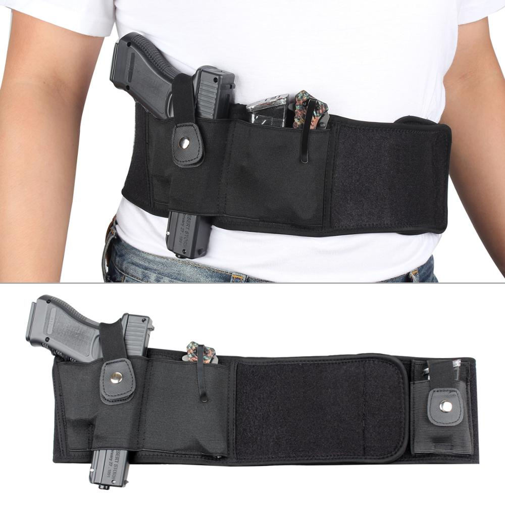 Hot Sale Concealed Belt Hostler Carry Belly Band Waist <strong>Gun</strong> <strong>Holster</strong> for Pistol Handgun with Magazine Pouch
