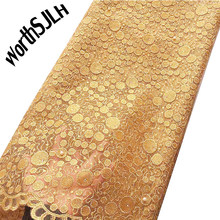 Желтая африканская кружевная ткань 2020, вышитая нигерийская Свадебная кружевная ткань, Высококачественная французская фатиновая кружевная...(Китай)