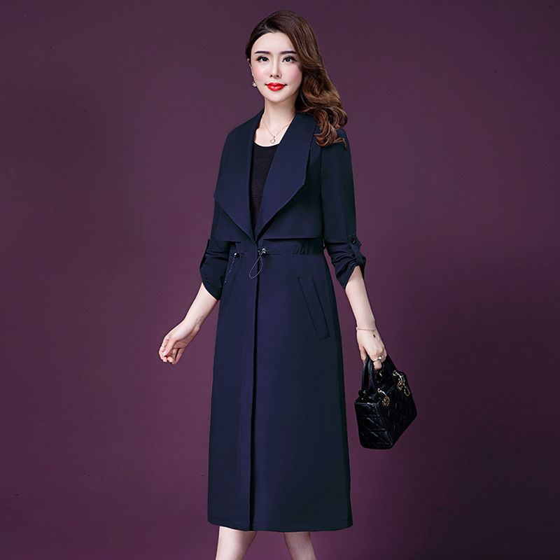 16126 High Quality Ladies Autumn Long Length Plus Sizes Trench Coats