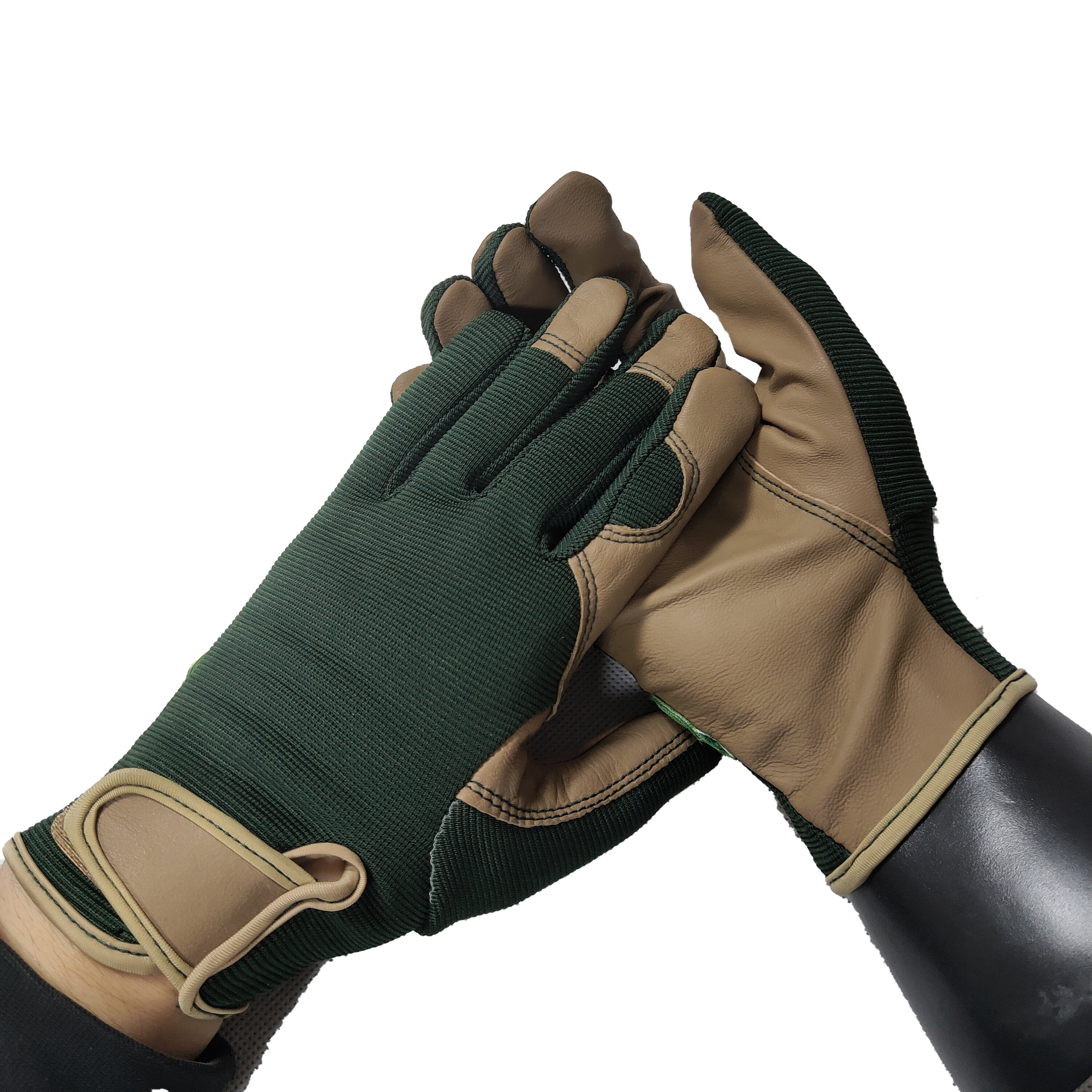 Good quality PU leather Ottoman Knitted driving drive Mechanical safety working magic buckle cuff Gloves