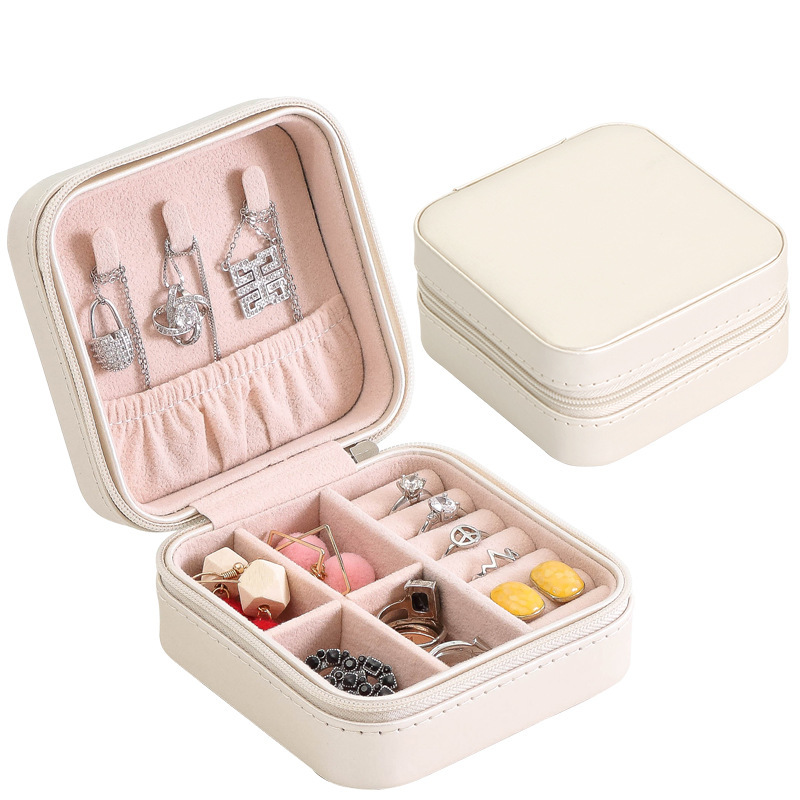 Custom Logo PU Leather Small Travel Jewelry Box Organizer Velvet Jewellery Storage Case for Ring Earring Necklace Gift Packaging