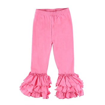 2019 Wholesale baby children clothing pure color ruffle pants kids children girls pants